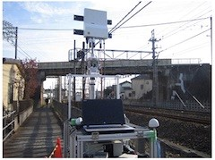 The 5G base station installed along the railway